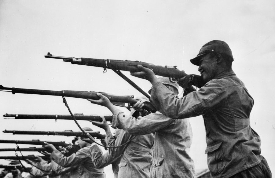 RNG soldiers during rifle practice as part of the Rural Pacification campaigns.