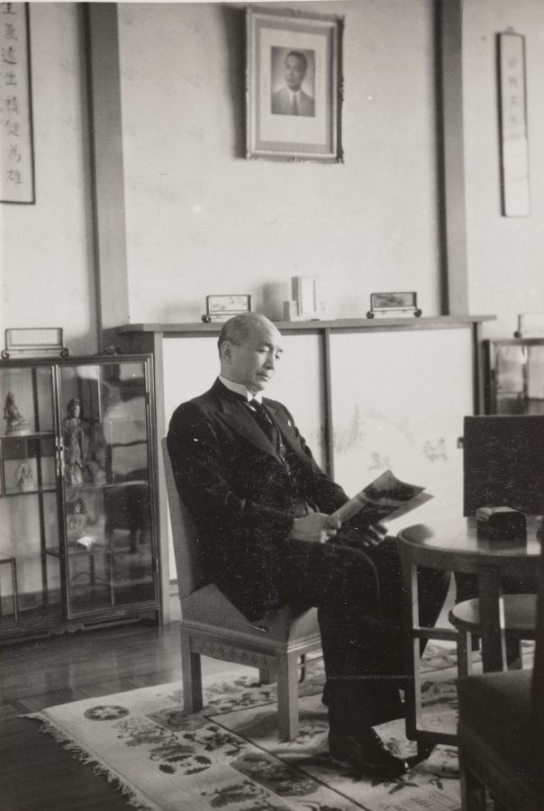 RNG foreign minister Chu Minyi in his office, 1942.