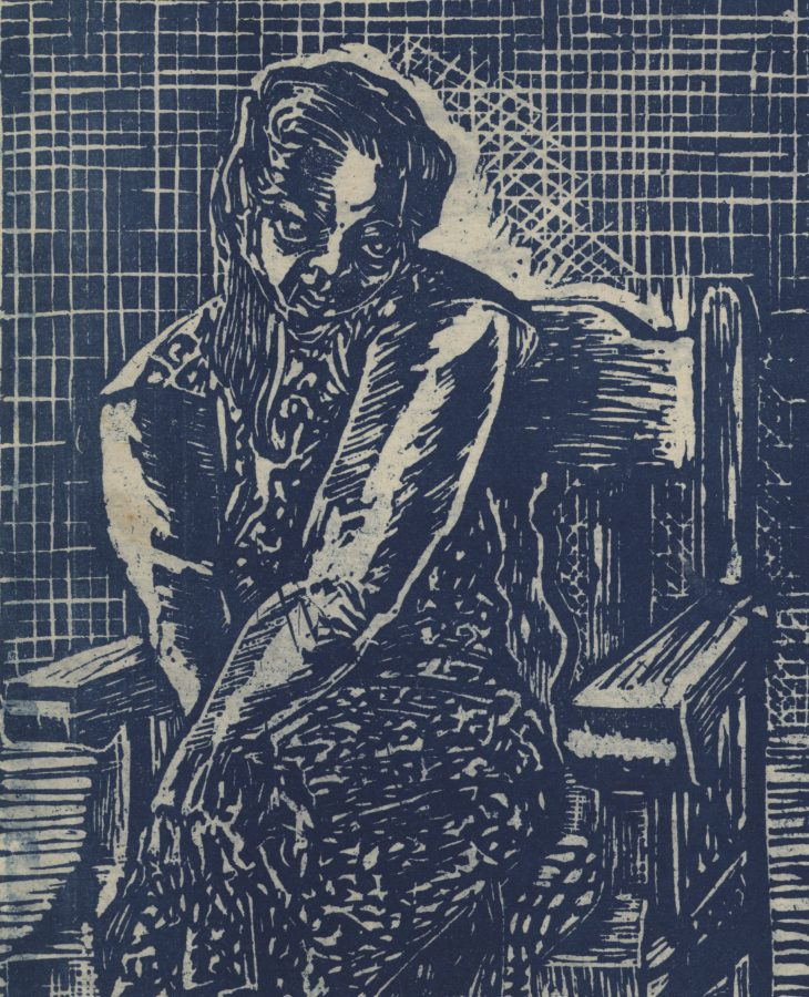 Woodcut depiction of a seated woman in a cheongsam.
