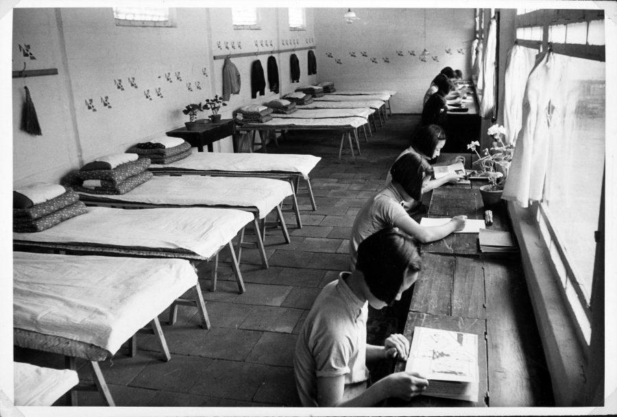 A dormitory room at the Peking Jiyu Gakuen School.